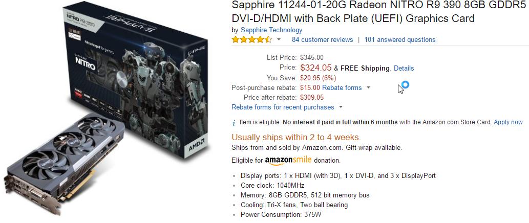 Amazon.com: Sapphire R9 390 Nitro for $324